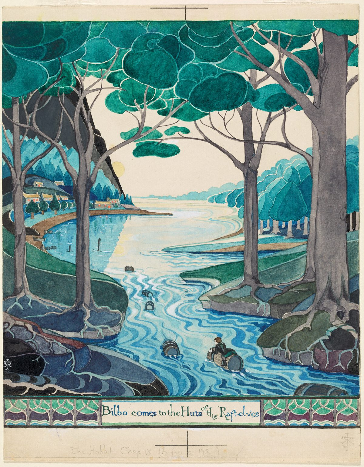 Bilbo up the river by Tolkien