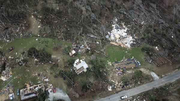 drone footage of tornado damage