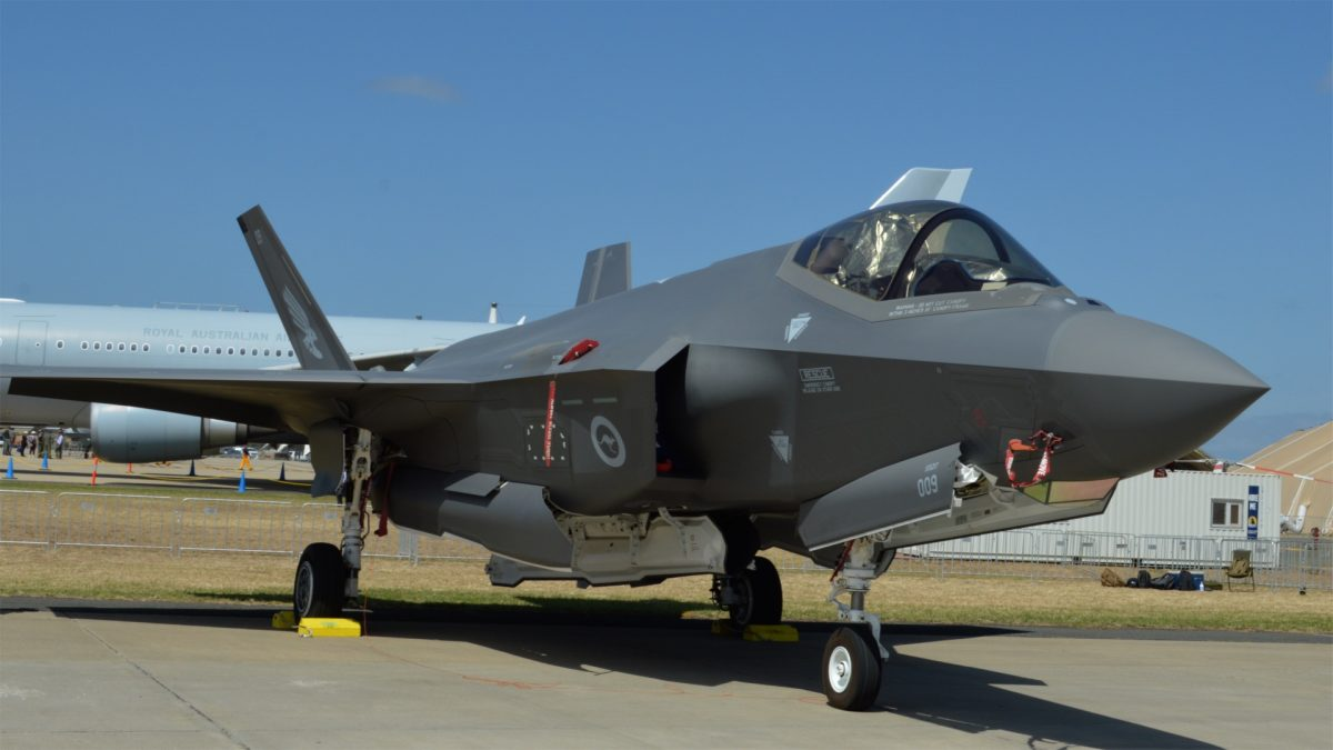 A RAAF F-35A Joint Strike Fighter sits on the tarmac at Avalon Airport for the Australian International Airshow 2019 on Feb. 26, 2019. (Bowen Zhang/Epoch Times)