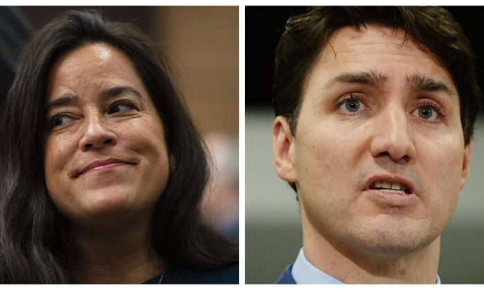 Former Canadian attorney general and justice minister Jody Wilson-Raybould and Prime Minister Justin Trudeau. (The Canadian Press)