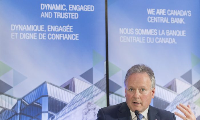 Governor of the Bank of Canada StephenPoloz speaks during a press conference in Montreal on Feb. 21, 2019. In its second interest rate decision of 2019, the BoC kept its key rate unchanged at 1.75 percent. (The Canadian Press/Graham Hughes)