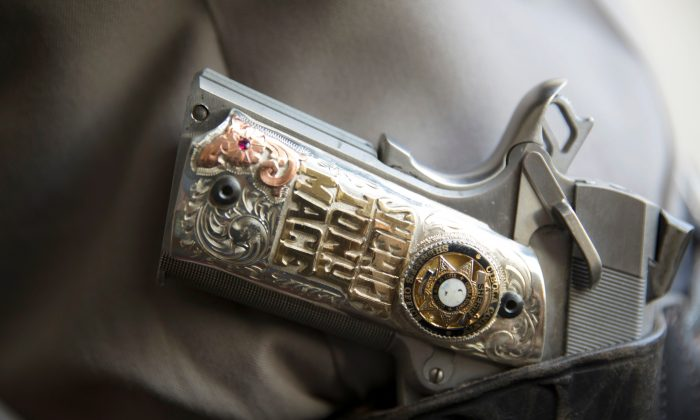 Cibola County Sheriff Tony Mace's side arm in Grants, New Mexico, U.S., Feb. 28, 2019. (Reuters/Adria Malcolm)