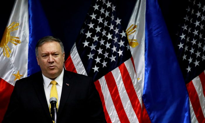 U.S. Secretary of State Mike Pompeo speaks to the media at the Department of Foreign Affairs in Pasay City, Metro Manila, Philippines on March 1, 2019. (Eloisa Lopez/Reuters)