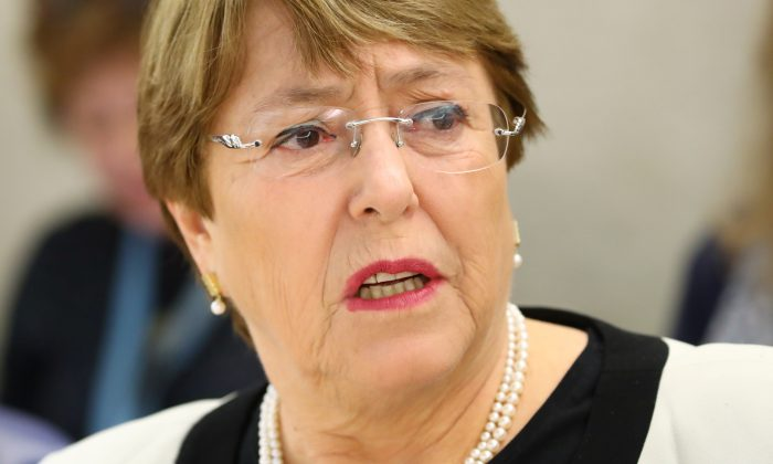 U.N. High Commissioner for Human Rights Michelle Bachelet attends a session of the Human Rights Council at the United Nations in Geneva, Switzerland, on March 6, 2019. (Denis Balibouse/Reuters)