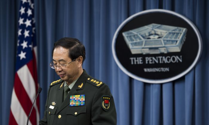 Fang Fenghui, then Chinese People's Liberation Army Chief of the General Staff General, speaks during a joint press conference with the Chairman of the Joint Chiefs of Staff at the Pentagon in Washington, DC, May 15, 2014. (JIM WATSON/AFP/Getty Images)