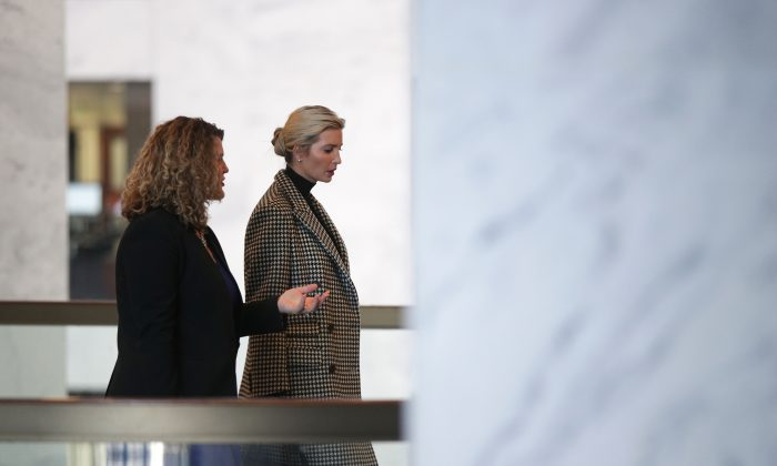 White House adviser Ivanka Trump arrives at Hart Senate Office Building for a meeting with Sen. Bill Cassidy (R-LA) on Capitol Hill on Feb 13, 2019. Trump was scheduled to meet with a number of GOP senators to discuss paid family leave legislation.  (Alex Wong/Getty Images)