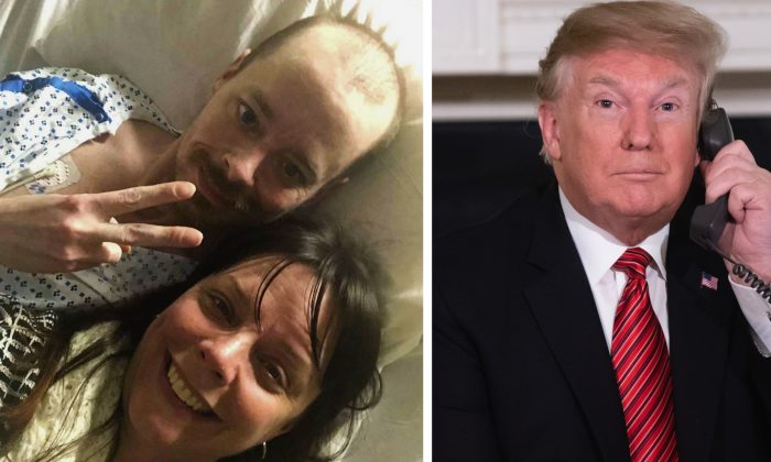 Selfie provided by Bridgette Hoskie, her brother Jay Barrett and herself pose for the photo inside an ICU at Yale New Haven Hospital in New Haven, Conn., on  Feb. 26, 2019. Barrett, a terminally ill Connecticut man who's a big supporter of President Donald Trump, is getting a bucket list wish fulfilled, with help from his Democratic sister. (Bridgette Hoskie via AP—Saul Loeb/AFP/Getty Images)