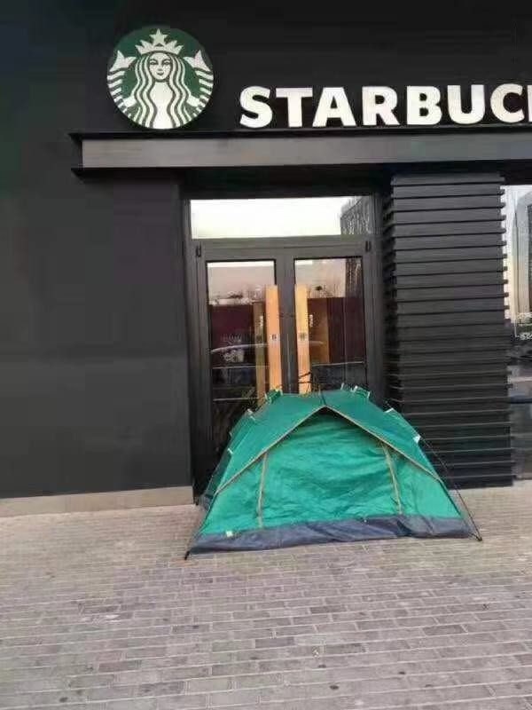 Camping by Starbucks