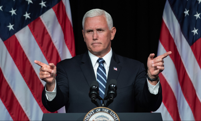 Vice President Mike Pence at the Pentagon in Washington, on Aug. 9, 2018. (Saul Loeb/AFP/Getty Images)