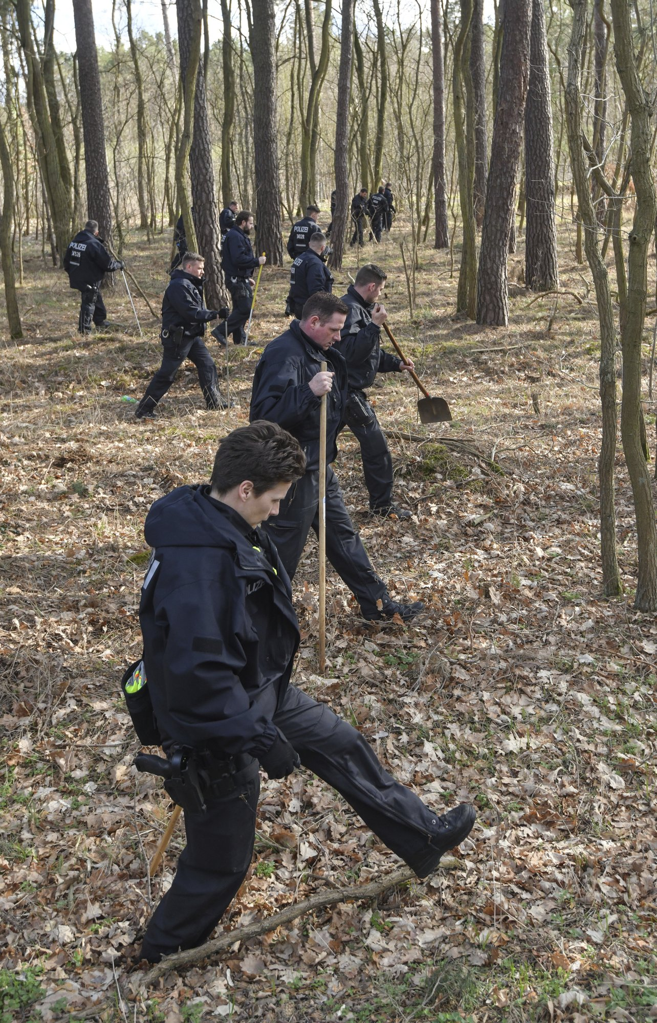 Berlin police searches a forest in Kummersdorf, Germany