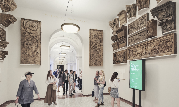 Visitors explore the Dorfman Architecture Court at the Royal Academy in London, where the architectural plaster casts are hung as they would've been in the 19th century. (Royal Academy of Arts, London)