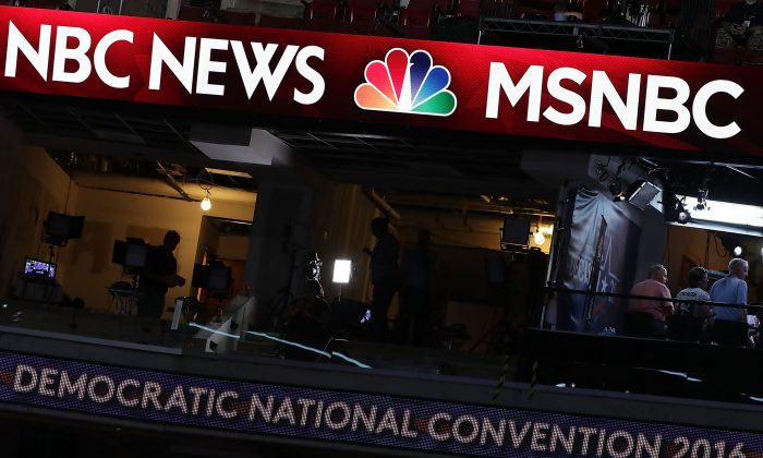 A booth of NBC News and MSNBC is seen at the Wells Fargo Center on July 24, 2016 in Philadelphia, Pennsylvania. Alex Wong/Getty Images