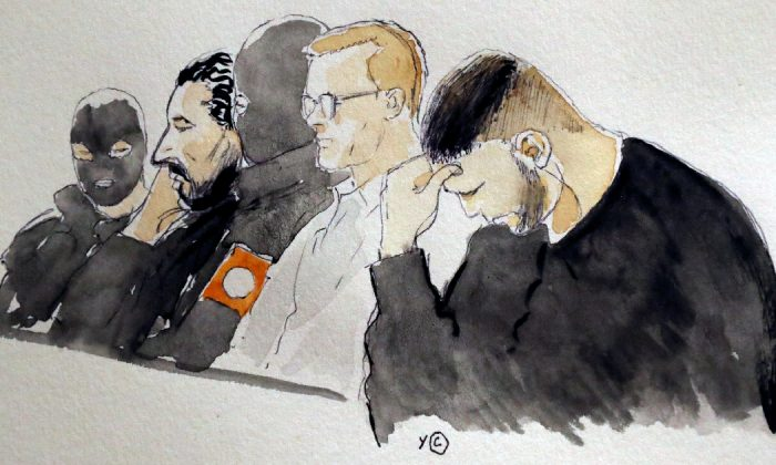A court drawing shows Mehdi Nemmouche and Nacer Bendrer during the trial of Nemmouche and Bendrer Belgium Mar. 7, 2019. (Yves Capelle/Reuters)
