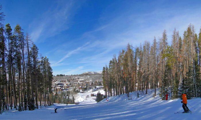 Skiers head toward the resort base area. (steve estvanik/Shutterstock)