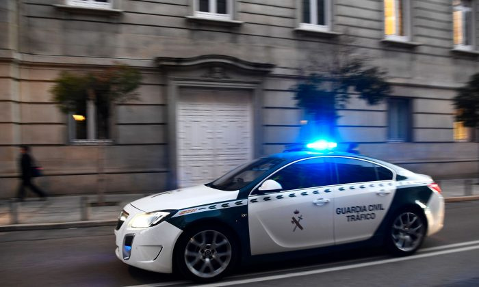 A Guardia Civil car arrives at the Supreme Court in Madrid on February 12, 2019.  (GABRIEL BOUYS/AFP/Getty Images)