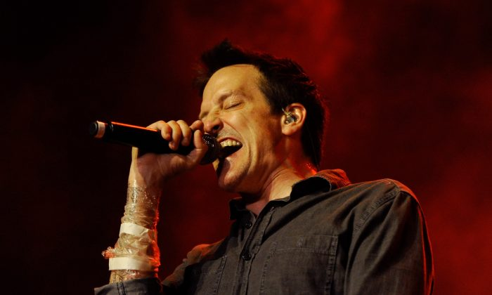 "Filter singer Richard Patrick performs at The Joint inside the Hard Rock Hotel & Casino as the band tours in support of the album, ""The Trouble with Angels"" in Las Vegas, Nevada on Sept. 29, 2011. (Ethan Miller/Getty Images)"