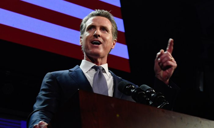 Gov. Gavin Newsom speaks during an election night event in Los Angeles on Nov. 6, 2018. (Kevork Djansezian/Getty Images)