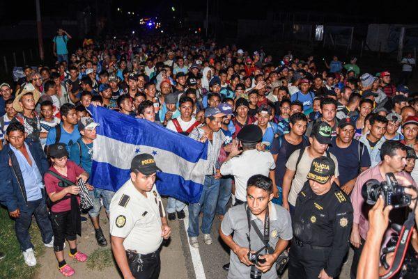 Honduran migrants taking part in a new caravan heading to the US