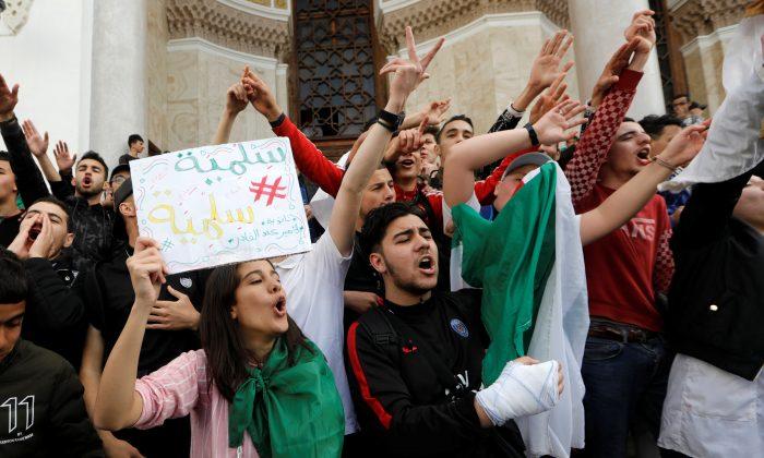 Students protest against Algeria's President Abdelaziz Bouteflika, in Algiers, Algeria March 10, 2019. REUTERS/Zohra Bensemra