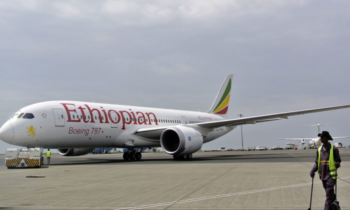 An Ethiopian Airlines Dreamliner jet is pictured ahead of its take off at Addis Ababa's Bole International Airport on April 27, 2013. (Jenny Vaughan/AFP/Getty Images)