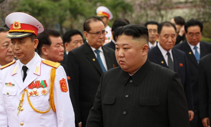 North Korean leader Kim Jong-un attending a wreath laying ceremony at the Ho Chi Minh mausoleum on March 2, 2019 in Hanoi, Vietnam. North Korean leader Kim Jong-un met with Vietnamese President Nguyen Phu Trong and Prime Minister Nguyen Xuan Phuc during his two-day official visit following a failed summit with U.S. President Donald Trump in Hanoi which ended without an agreement made. (Dien Bien/Getty Images)