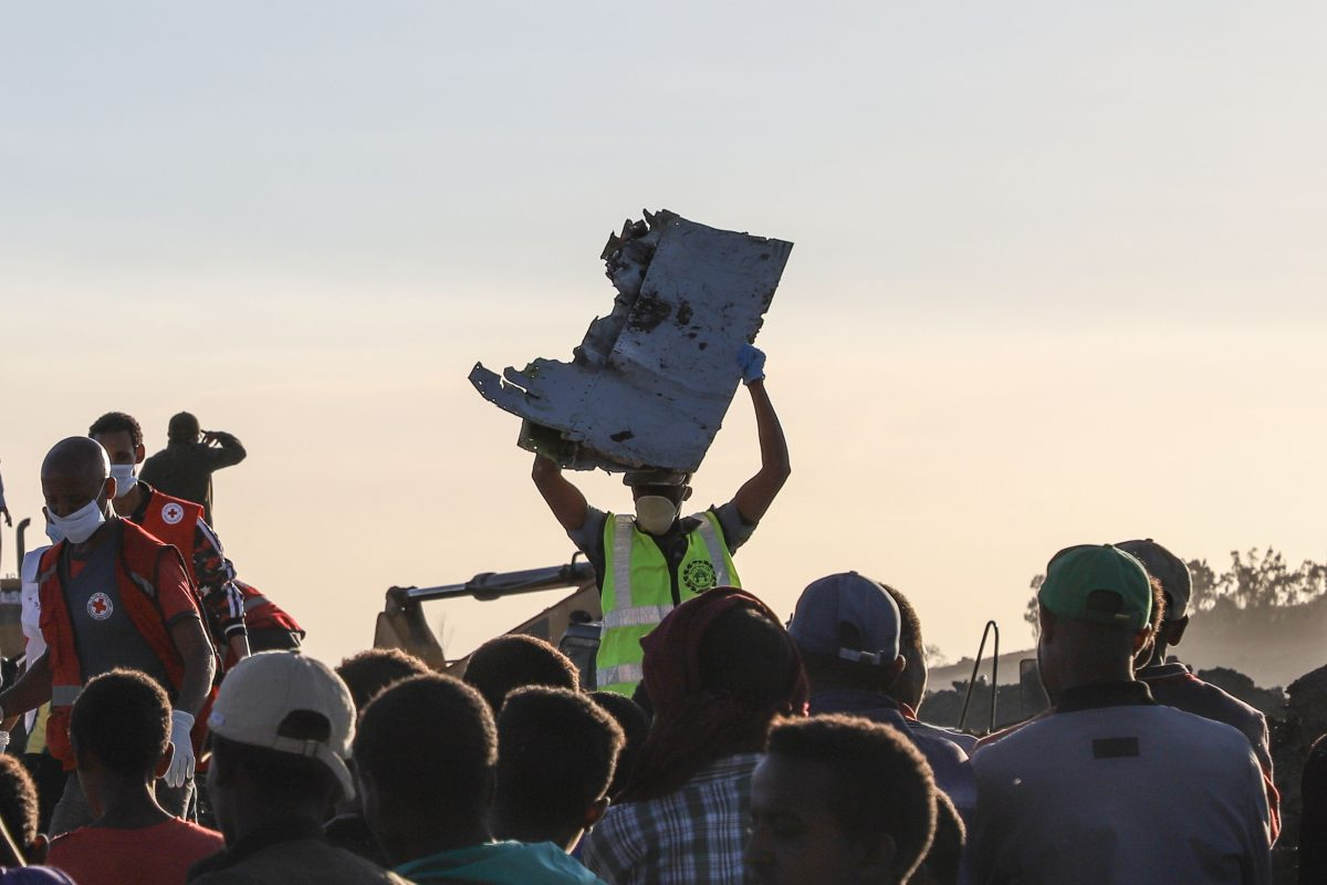 debris at the crash site of an Ethiopia Airlines