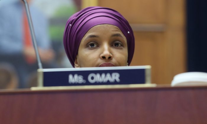Rep. IlhanOmar(D-MN) participates in a House Education and Labor Committee Markup on the H.R. 582 Raise The Wage Act, in the Rayburn House Office Building on March 6, 2019 in Washington, DC.  Mark Wilson/Getty Images