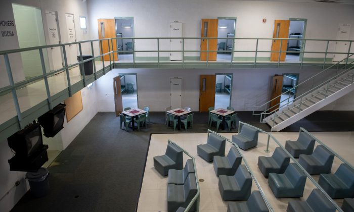 A common area and cell room doors are seen inside the Caroline Detention Facility in Bowling Green, Va., on Aug. 13, 2018. - A former regional jail, the facility has been contracted by the U.S. Department of Homeland Security Immigration and Customs Enforcement (ICE) to house illegal aliens for violations of immigration laws. (Saul Loeb/AFP/Getty Images)