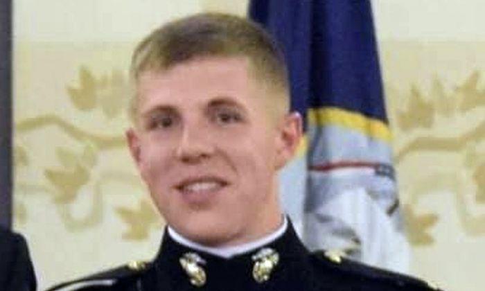This undated photo provided by the U.S. Marine Corps, 1st Marine Division, shows missing Marine 1st Lt. Matthew Kraft. (Courtesy of U.S. Marine Corps via AP)