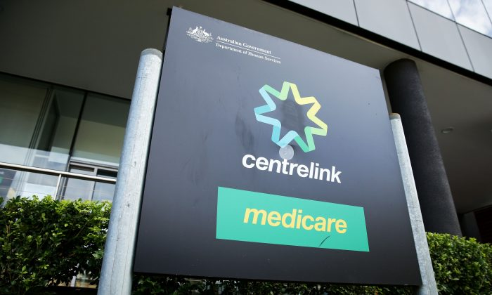 A Medicare and Centrelink office sign at Bondi Junction in Sydney, Australia, on March 21, 2016. (Matt King/Getty Images)