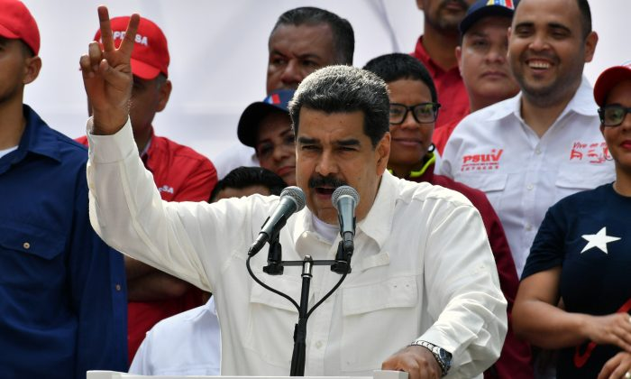 Venezuelan regime leader Nicolas Maduro speaks during a rally at the Miraflores Presidential Palace in Caracas, Venezuela on March 9, 2019. (Yuri CortezY/AFP/Getty Images)