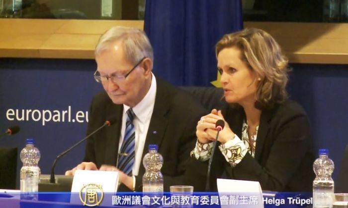 Helga Trüpel (right), MEP from Germany, speaks at European Parliament conference on March 7. Tunne Kelam, MEP from Estonia, is beside her. (Screenshot/NTD Television)