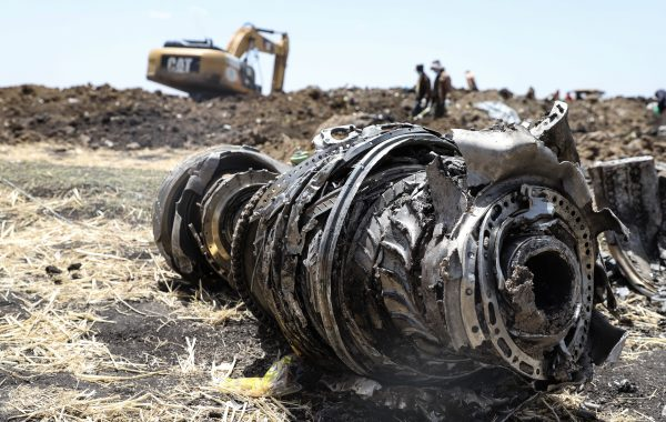 A photo shows debris of the crashed airplane of Ethiopia Airlines, near Bishoftu, a town some 60 kilometres southeast of Addis Ababa, Ethiopia
