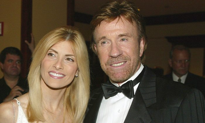 Chuck Norris and his wife Gena in Arcadia, Calif. on Oct. 25, 2003,  (Jeff Golden/Getty Images)