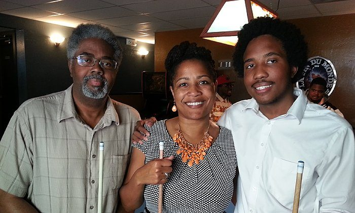 Victor McElhaney celebrating his 21st birthday with his mom Councilmember Lynette McElhaney and father Clarence McElhaney at Luca's Taproom in Oakland. (City of Oakland)