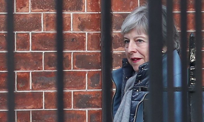 Britain's Prime Minister Theresa May leaves 10 Downing Street in London on March 11, 2019. (Daniel Leal-Olivas/AFP/Getty Images)