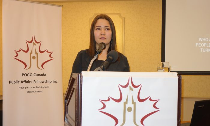 Canadian Uighur Activist Rukiye Turdush speaks at a Peace, Order, and Good Governance Canada event in Ottawa on March 9, 2019. (The Epoch Times)
