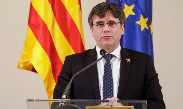 Former Catalan president Carles Puigdemont at a press conference in Brussels on Feb. 18, 2019. (Thierry Roge/AFP/Getty Images)