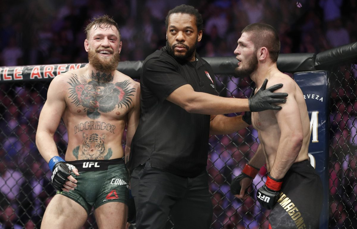 Conor McGregor, left, fights Khabib Nurmagomedov