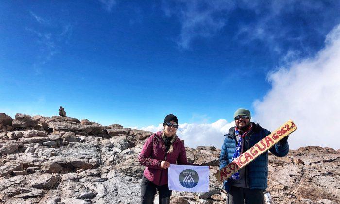 Kirstie Ennis on the summit of Aconagua mountain in the Andes mountain range. (Courtesy of Kirstie Ennis)