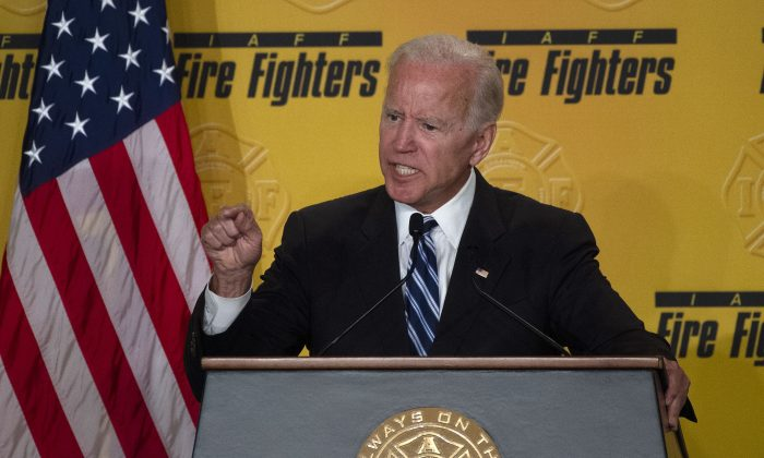 Former Vice President Joe Biden speaks at the International Association of Fire Fighters conference in Washington on March 12, 2019. (ANDREW CABALLERO-REYNOLDS/AFP/Getty Images)