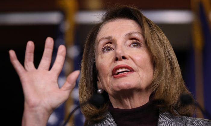 U.S. Speaker of the House Nancy Pelosi (D-Calif.) answers questions during her weekly press conference at the U.S. Capitol in Washington on Feb. 28, 2019 in Washington. (Win McNamee/Getty Images)