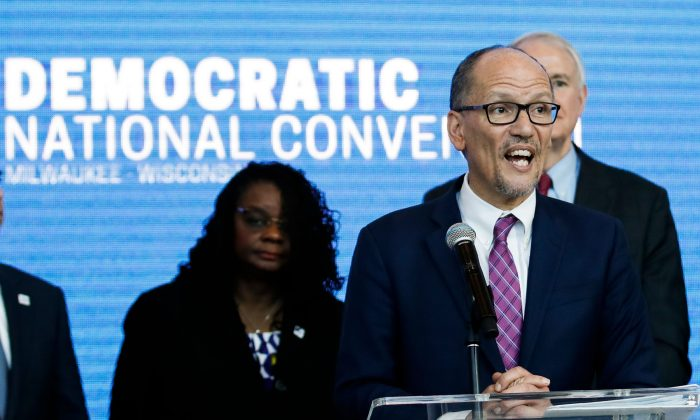 Chair of the Democratic National Committee Tom Perez speaks during a press conference at the Fiserv Forum in Milwaukee, Wisconsin on Mar. 11, 2019. (Kamil Krzaczynski/AFP/Getty Images)