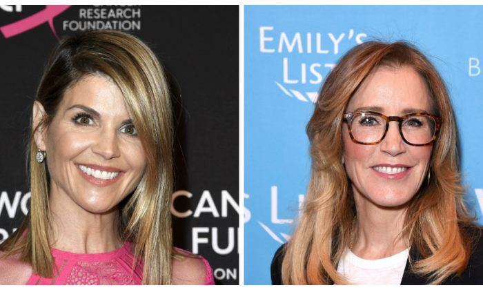 Lori Loughlin and Felicity Huffman (Frazer Harrison/Getty Images); (Presley Ann/Getty Images for EMILY'S List))