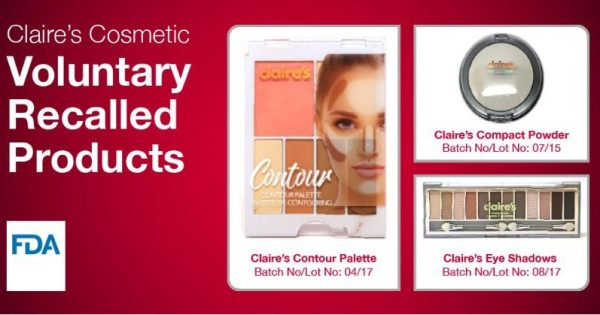 Claire's products subject to advisory