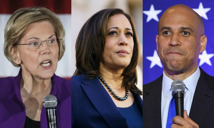 (L-R) Democratic presidential candidates Sen. Elizabeth Warren (D-Mass.), Kamala Harris (D-Calif.), and Cory Booker (D-N.J.). (Getty Images)