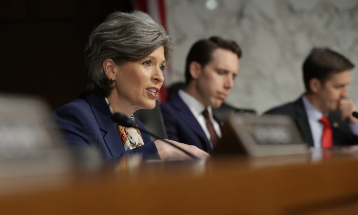 Sen. Joni Ernst (R-Iowa) at a hearing on Capitol Hill in Washington on Jan. 15, 2019. (Chip Somodevilla/Getty Images)