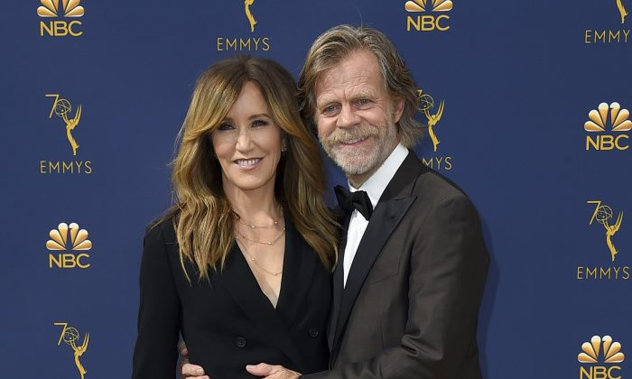 Felicity Huffman and William H. Macy arrive at the 70th Primetime Emmy Awards in Los Angeles, on Sept. 17, 2018. (Jordan Strauss/Invision/AP)