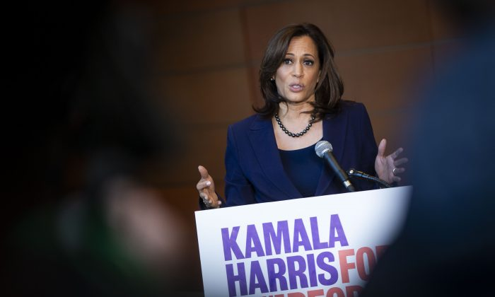 Sen. Kamala Harris (D-CA) speaks to reporters after announcing her candidacy for President of the United States, at Howard University in Washington on Jan. 21, 2019. (Al Drago/Getty Images)