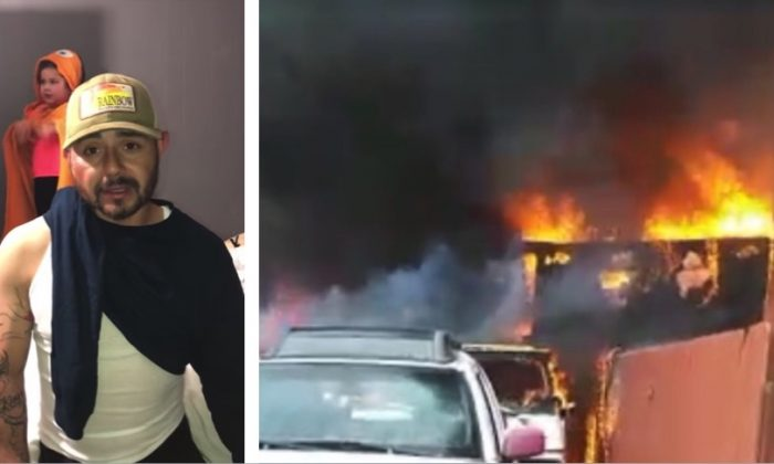 Jose Guzman (L), the man who saved his pit bull from a burning house, thanks GoFundMe donors in the wake of the incident. Guzman's house (R) on fire in San Diego, Calif., on  March 9, 2019. (Roxana Martinez/YouTube/GoFundMe)